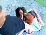 Vidéo porno mobile : Two black slut fucked in a cave
